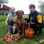 Две женщины, собака и грибы